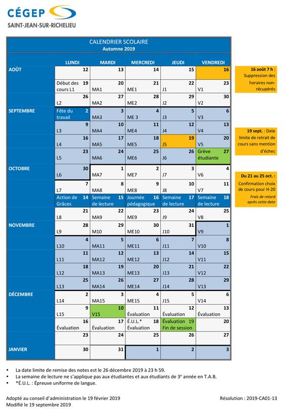 Calendrier Scolaire 2020 Et 2021.Calendrier Scolaire Cegep Saint Jean Sur Richelieu